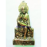 BWHG110 Black Metal Wall Hanging Of Lord Sai Baba(21x36cm,550gm Approx)
