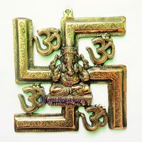 BWHG111  Black Metal Wall Hanging Of Ganesha Ganesh With Swastika(25x27cm,650gm)