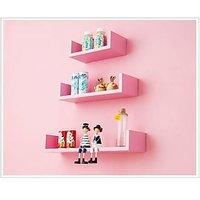 Pink Floating Wall Shelf - Set Of 3 'U' Shape Shelves Wall Unit