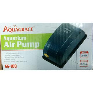 COLOURFUL AQUARIUM  Aquarium Air pump / Motor 1way + 1 mtr air tupe + 1 Air Stone #SS108