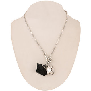 Jazz Jewellery Black Flower Rhinestone Studded Daily Wear Necklace For Women and Girls