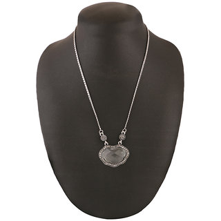 Jazz Jewellery Jewellery Silver Delicate Chain Pendent with White Crystals and American Diamond Inside Pendent For Women