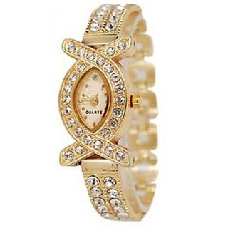 Golden Round Dial Gold Analog Watch For Women by 7star