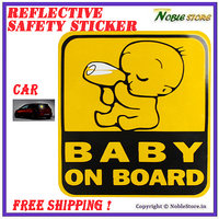 Reflective Car Safey Baby On Board Decal Sticker - Decorative and Safe