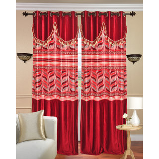 Double D Window Curtain set of 2 pcs (4x5 feet) - Red Eyelet Polyester Curtain-Purav Light