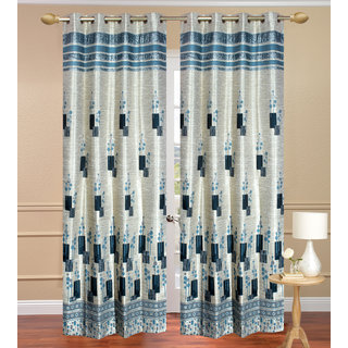 Jurry Panal Box Blue Door Curtain set of 2 pcs (4x7 feet) -Eyelet Curtain-Purav Light