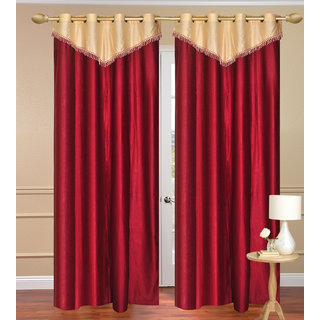 Plain with Lace Red Long Door Curtain set of 2 pcs (4x9 feet) - Eyelet Polyester Curtain-Purav Light