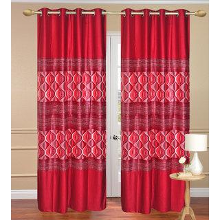 Window Curtain set of 2 pcs (4x5 feet) - Red Eyelet Polyester Curtain-Purav Light