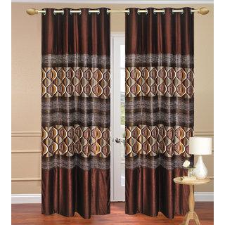 Door Curtain set of 2 pcs (4x7 feet) - Brown Eyelet Polyester Curtain-Purav Light