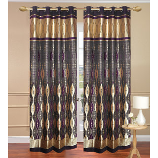 G.T Gold Long Door Curtain set of 2 pcs (4x9 feet) - Eyelet Curtain-Purav Light