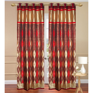 G.T Red Long Door Curtain set of 2 pcs (4x9 feet) - Eyelet Curtain-Purav Light
