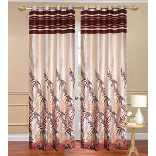 Heritej Cream Door set of 2 pcs (4x7 feet) -Eyelet Curtain-Purav Light
