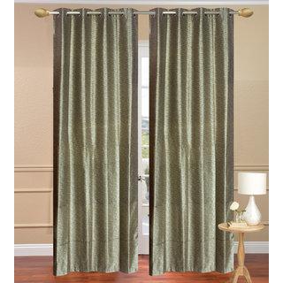 Plain Jaquard Long Door Curtain set of 2 pcs (4x9 feet) - Gray Eyelet Polyester Curtain-Purav Light