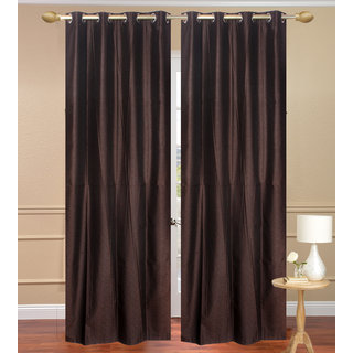 Plain Jaquard Window Curtain set of 2 pcs (4x5 feet) - Brown Eyelet Polyester Curtain-Purav Light