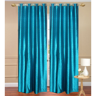 Plain Jaquard Door Curtain set of 2 pcs (4x7 feet) - Sky Blue Eyelet Polyester Curtain-Purav Light