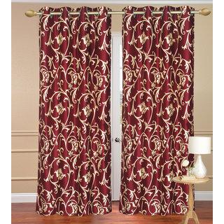 Door Curtain set of 2 pcs (4x7 feet) - Red Eyelet Polyester Curtain-Purav Light