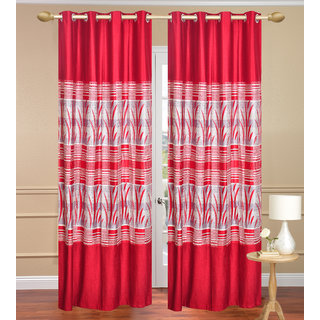 Royal Ganna Red Long Door set of 2 pcs (4x9 feet) - Eyelet Polyester Curtain-Purav Light