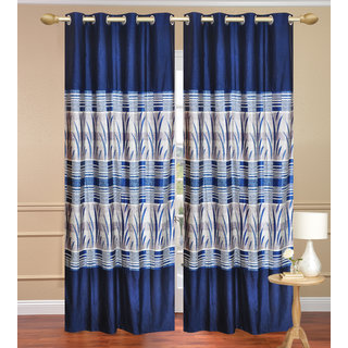 Royal Ganna Blue Long Door set of 2 pcs (4x9 feet) - Eyelet Polyester Curtain-Purav Light