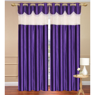 Tishu Solid With Lace Design Plain Blue Window set of 2 pcs (4x5 feet) - Eyelet Polyester Curtain-Purav Light