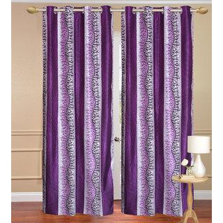 Chiner Patta Purple Long Door set of 2 pcs (4x9 feet) - Eyelet Polyester Curtain-Purav Light
