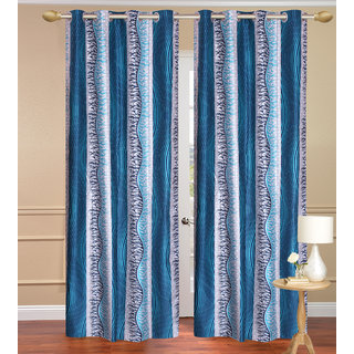 Chiner Patta Blue Door set of 2 pcs (4x7 feet) - Eyelet Polyester Curtain-Purav Light