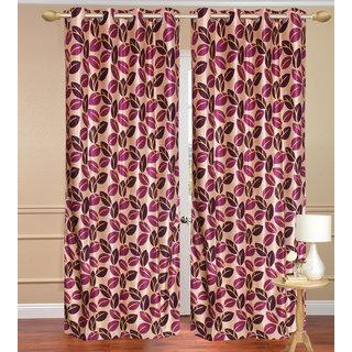 Pinat Path Purple Long Door set of 2 pcs (4x9 feet) - Eyelet Polyester Curtain-Purav Light