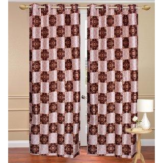 Brown Window set of 2 pcs (4x5 feet) - Eyelet Polyester Curtain-Purav Light