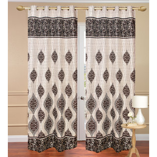 Dhamash Jute Gray Long Door set of 2 pcs (4x9 feet) - Eyelet Curtain-Purav Light