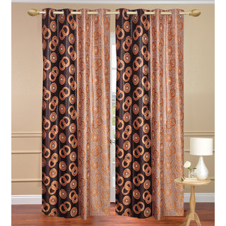 Namo Circle Design Gold Long Door set of 2 pcs (4x9 feet) - Eyelet Polyester Curtain-Purav Light