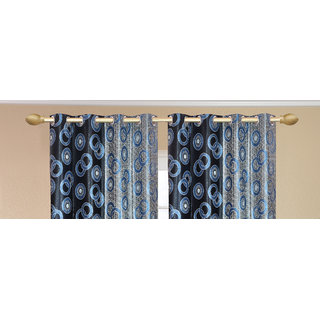 Namo Circle Design Blue Door set of 2 pcs (4x7 feet) - Eyelet Polyester Curtain-Purav Light