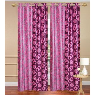 Namo Circle Design Purple Window set of 2 pcs (4x5 feet) - Eyelet Polyester Curtain-Purav Light