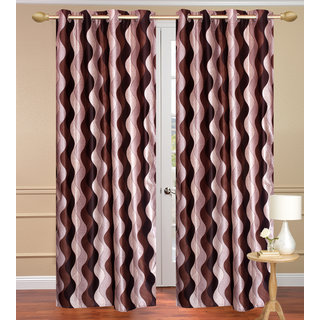 Lehar Brown Door set of 2 pcs (4x7 feet) - Eyelet Polyester Curtain-Purav Light
