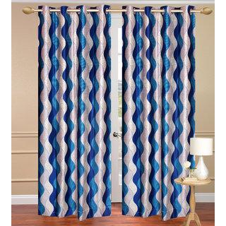 Lehar Blue Window set of 2 pcs (4x5 feet) - Eyelet Polyester Curtain-Purav Light