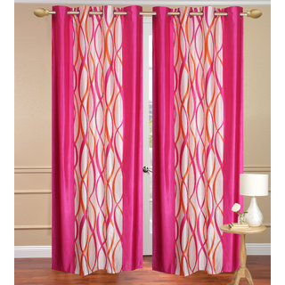 Pink Long Door set of 2 pcs (4x9 feet) - Eyelet Polyester Curtain-Purav Light