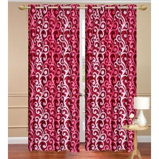 Red Door set of 2 pcs (4x7 feet) - Eyelet Polyester Curtain-Purav Light