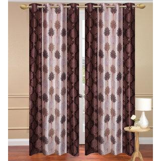 Brown Door set of 2 pcs (4x7 feet) - Eyelet Polyester Curtain-Purav Light