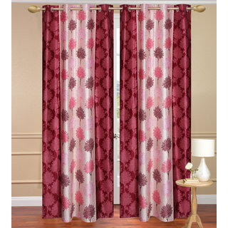 Red Door set of 2 pcs (4x7 feet) - Eyelet Polyester Curtain-Purav Light