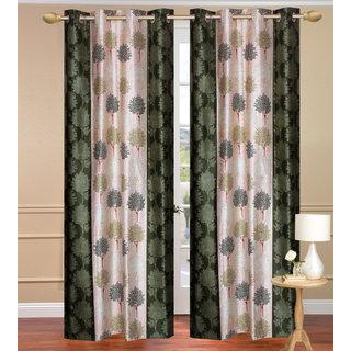 Green Long Door set of 2 pcs (4x9 feet) - Eyelet Polyester Curtain-Purav Light