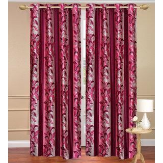 Red Long Door set of 2 pcs (4x9 feet) - Eyelet Polyester Curtain-Purav Light