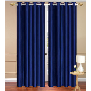 Solid Plain Blue Door set of 2 pcs (4x7 feet) - Eyelet Polyester Curtain-Purav Light