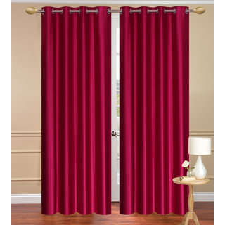 Solid Plain Maroon Long Door set of 2 pcs (4x9 feet) - Eyelet Polyester Curtain-Purav Light