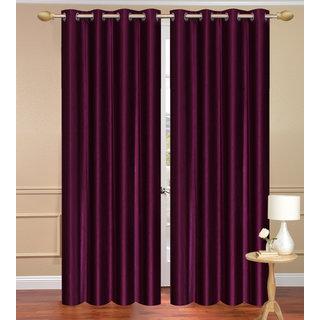 Solid Plain Purple Door set of 2 pcs (4x7 feet) - Eyelet Polyester Curtain-Purav Light