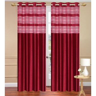 Cursh Red Window set of 2 pcs (4x5 feet) - Eyelet Polyester Curtain-Purav Light