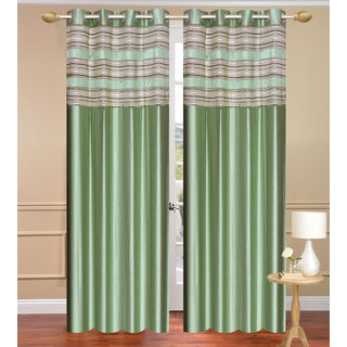 Cursh Green Door set of 2 pcs (4x7 feet) - Eyelet Polyester Curtain-Purav Light