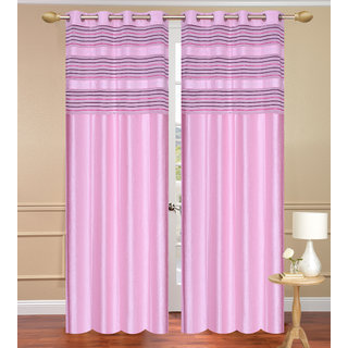 Cursh Pink Window set of 2 pcs (4x5 feet) - Eyelet Polyester Curtain-Purav Light