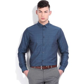 Men's Checkered Formal Blue Shirt