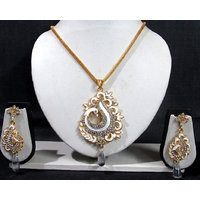White Meenakari Peacock Pendant Set