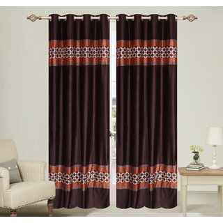 Double pach Brown Window set of 2 pcs (4x5 feet) - Eyelet Polyester Curtain-Purav Light