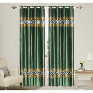 Double pach Green Long Door set of 2 pcs (4x9 feet) - Eyelet Polyester Curtain-Purav Light
