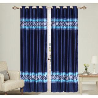 Double pach Blue Long Door set of 2 pcs (4x9 feet) - Eyelet Polyester Curtain-Purav Light